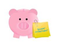 Het slimme ontwerp van de investerings piggybank illustratie Stock Afbeeldingen