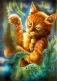 Het slimme oranje beeldverhaalkat spelen met een pauwveer Stock Foto's
