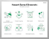 Het slimme pak van FlatOutline van landbouwbedrijfelementen royalty-vrije illustratie