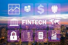 Het slimme stadsconcept met concept van de fintech het financiële technologie royalty-vrije stock foto's
