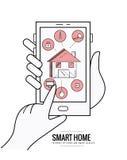 Het slimme systeem van de huistechnologie met gecentraliseerde controle Royalty-vrije Stock Afbeelding