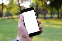 Het slimme telefoon witte scherm in mijn handen Royalty-vrije Stock Foto