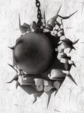 Het slopen van bal demoslishes de muur stock illustratie
