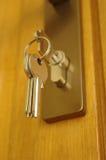 Het slot en de sleutel van het huis stock afbeeldingen