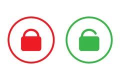 Het slot en opent gemakkelijk pictogram groen en rood vectorontwerp voor zaken Royalty-vrije Stock Afbeeldingen