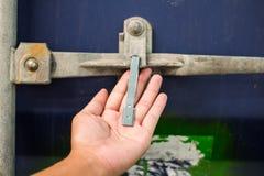 Het slot van de containerverbinding voor beschermt binnen product royalty-vrije stock foto's