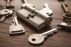 Het slot van de deur met sleutels Royalty-vrije Stock Afbeeldingen