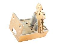 Het slot van het tapgat met sleutels stock foto