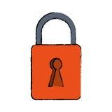 Het slot veilige digitaal van het tekenings oranje hangslot Stock Afbeeldingen