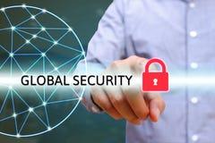 Het slotpictogram van de mensen pointting veiligheid, World Wide Web met lijnen conn Royalty-vrije Stock Foto's