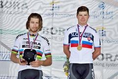 Het Slowaakse en Tsjechische nationale weg het cirkelen kampioenschap 2017 Royalty-vrije Stock Fotografie