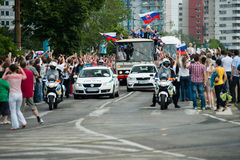 Het Slowaakse ijshockeyteam begroet met ventilators Royalty-vrije Stock Foto