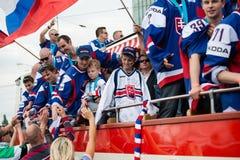 Het Slowaakse ijshockeyteam begroet met ventilators Royalty-vrije Stock Fotografie