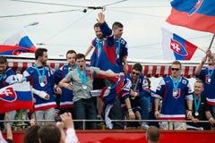 Het Slowaakse ijshockeyteam begroet met ventilators Royalty-vrije Stock Afbeelding