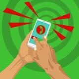 Het sluiten van inkomende vraag die in smartphone rechts gebruiken Royalty-vrije Stock Afbeeldingen