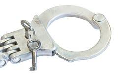 Het sluiten van oude handcuff Stock Foto's