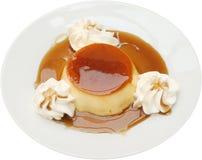 Het smakelijke dessert van de karamelvla Stock Fotografie