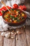 Het smakelijke Hongaarse close-up en de ingrediënten van de goelasjsoep bograch V Stock Foto