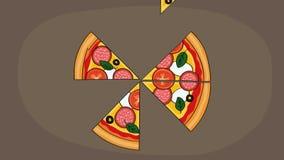 Het smakelijke kijken illustreerde gesneden salamipizza Animatie van verdwijnende plakken stock video