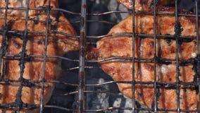 Het smakelijke sappige varkensvleeslapje vlees koken op metaalvleespennen bij de houtskoolgrill met geurige brandrook Het koken t stock footage