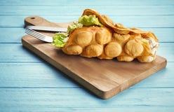 Het smakelijke wafeltje van het straatvoedsel stock foto's