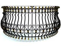 Het smeedijzertraliewerk voor een rond balkon in zwarte verfraaide met gouden die tussenvoegsels op wit worden geïsoleerd 3d geef Royalty-vrije Stock Foto's