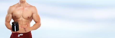 Het smeren van anabole eiwitbodybuilder die copyspace muscl bodybuilding royalty-vrije stock foto's