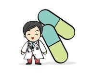 Het Smiley Doctor Cartoon-karakter met groene capsulegeneeskunde Royalty-vrije Stock Foto's
