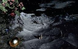 Het sneeuw landschap van Kerstmis royalty-vrije illustratie