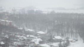 Het sneeuwen in de Stad stock videobeelden