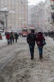 Het sneeuwen in Istiklal III Stock Foto's