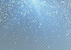 Het sneeuwvalpatroon met blauw glanst Dalende Sneeuwvlokken Vectordieillustratie op transparante achtergrond wordt geïsoleerd Stock Afbeeldingen