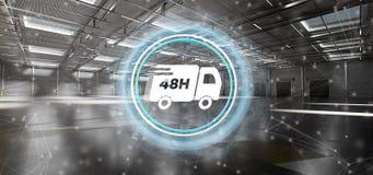 Het snelle concept van het leveringssysteem op een 3d pakhuisachtergrond geeft terug Stock Afbeelding