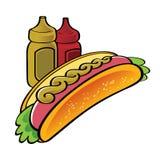 Het snelle voedsel van de hotdog Stock Foto's