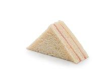 het snelle voedsel van de sandwichham op witte achtergrond, ontbijt Stock Foto's
