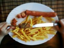 Het snelle voedsel van frieten Stock Foto