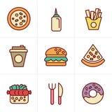 Het Snelle Voedselpictogrammen van de pictogrammenstijl Royalty-vrije Stock Afbeelding