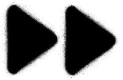 Het snelle voorwaartse media pictogram van de graffitinevel in zwarte over wit Stock Fotografie