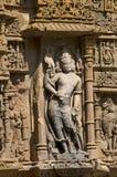 Het snijden details op de pijler van de Zontempel Gebouwd in 1026 - ADVERTENTIE 27 tijdens regeert van Bhima I van de Chaulukya-d royalty-vrije stock fotografie