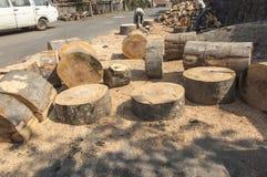 Het snijden en het hakken van grote blokken van hout Royalty-vrije Stock Foto