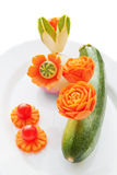 Het snijden op groenten royalty-vrije stock foto's