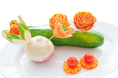 Het snijden op verse groenten. royalty-vrije stock fotografie