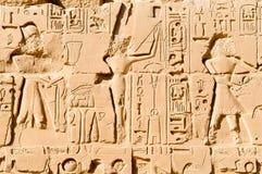 Het snijden in tempel Karnak stock afbeelding