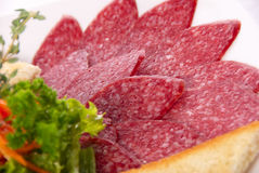 Het snijden van de salami Stock Afbeeldingen