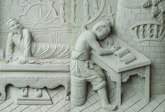 Het snijden van de steen over Chinese mythe. stock foto's