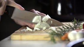 Het snijden van de ui met groot staalmes stock videobeelden