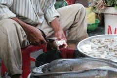 Het snijden van de vissen Stock Fotografie