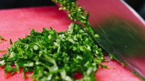 Het snijden van een peterselie met een mes in salade op rode scherpe raad in 4k-resolutie in slowmotion stock footage