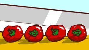 Het snijden van een verse rode Spaanse peperpeper met een mes cooking royalty-vrije illustratie