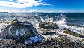 Het snijden van golven bij het strand Stock Afbeeldingen